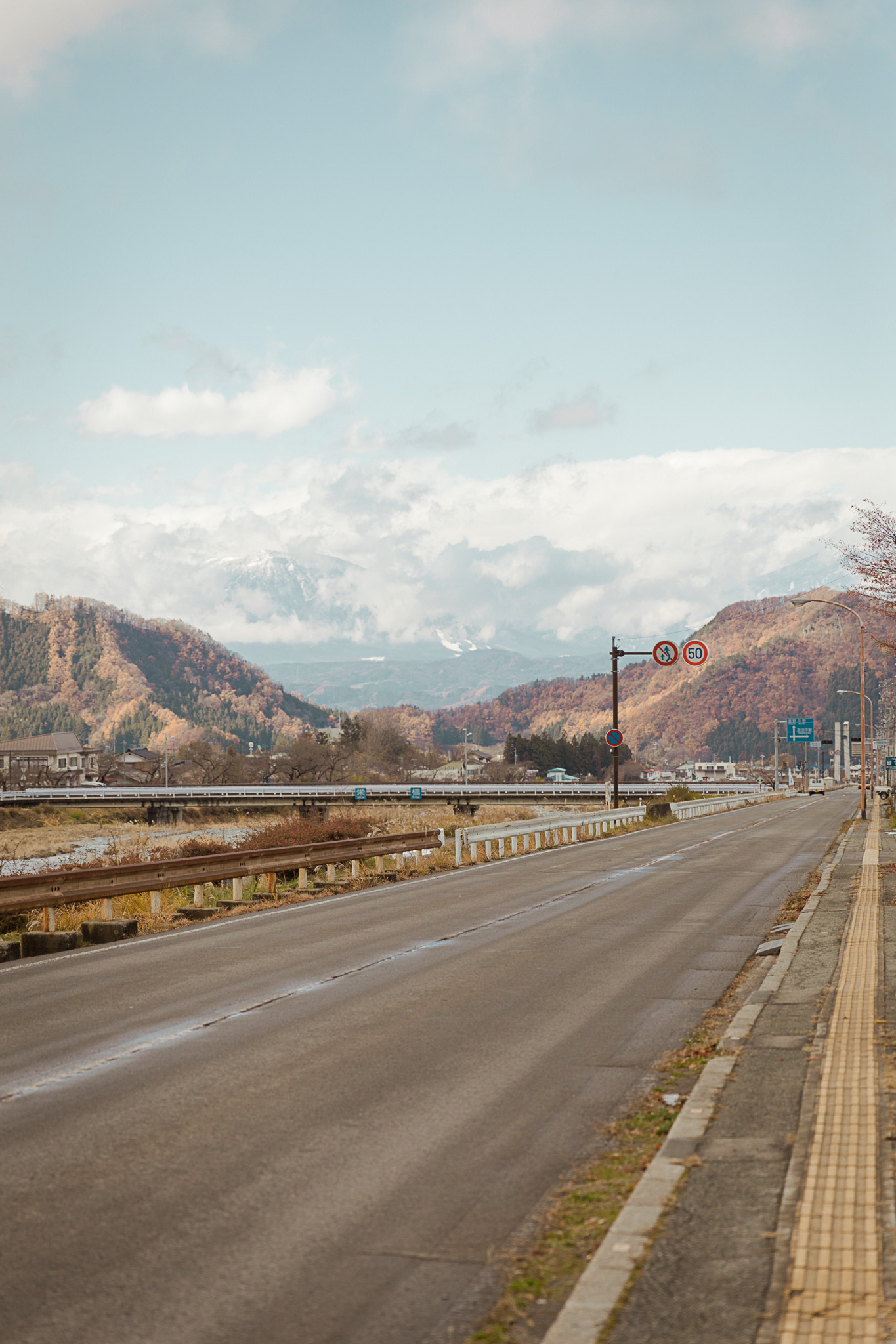 Road and mountain view in Shibu Onsen town