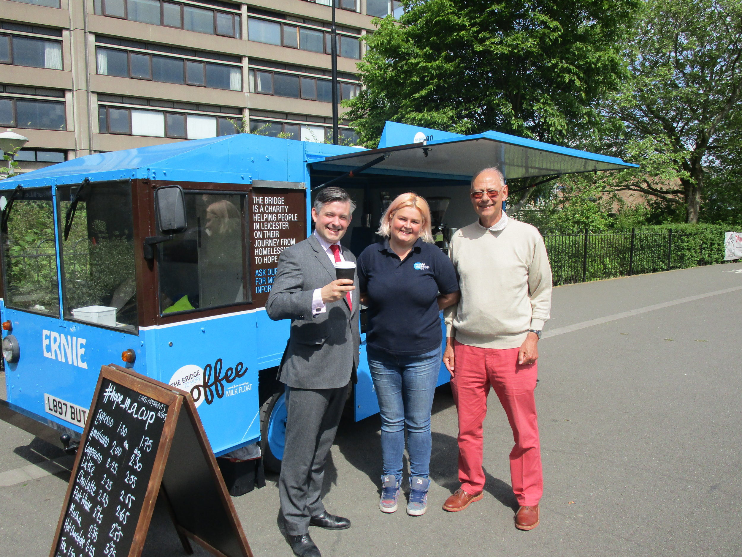 Jon drops by The Bridge's Coffee Milkfloat on Victoria Park. Profits from the Coffee Milkfloat go to fund The Bridge's work with homeless people - Friday May 18 2018