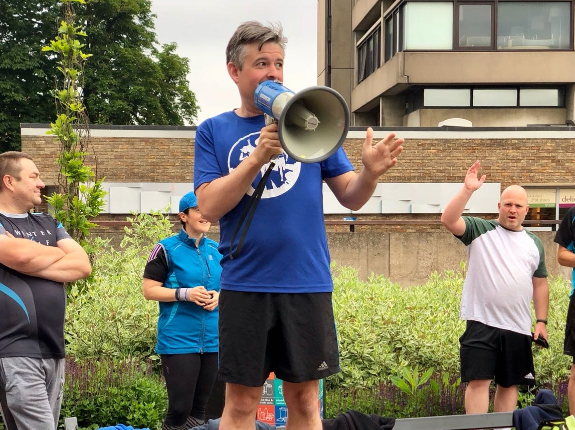 Jon Ashworth, Labour MP for Leicester South, starts the Leicester Victoria parkrun celebrating the 70th birthday of the NHS - Saturday June 9 2018