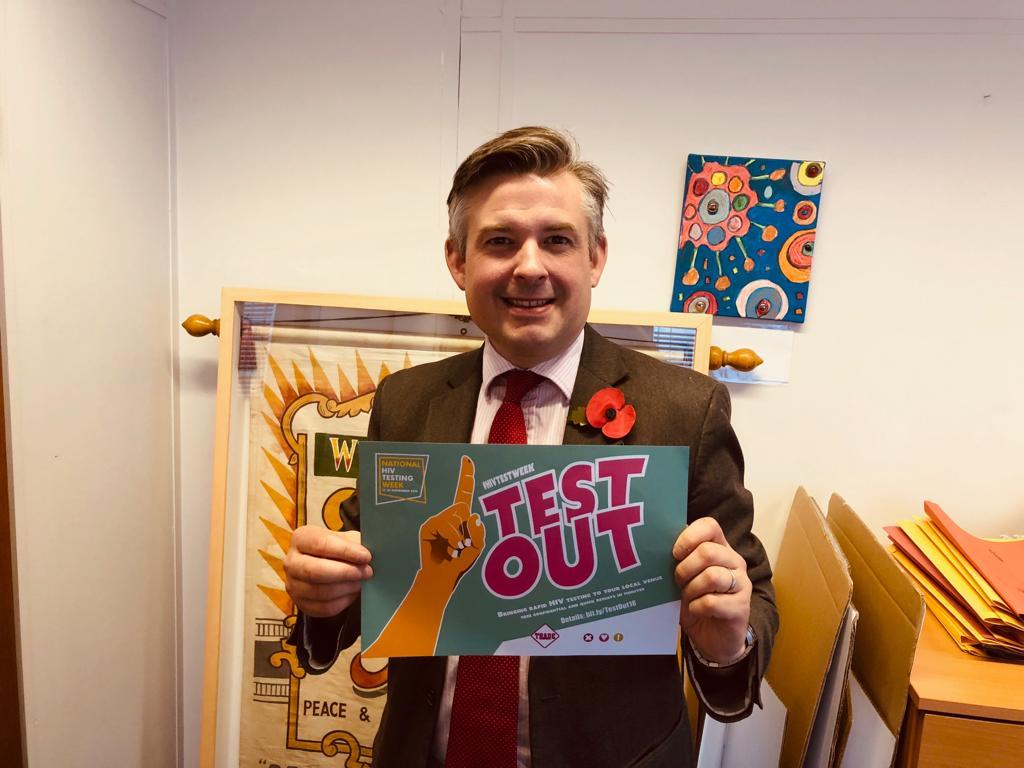 Jon Ashworth supports National HIV testing Week that starts on 17 November - Friday November 16 2018
