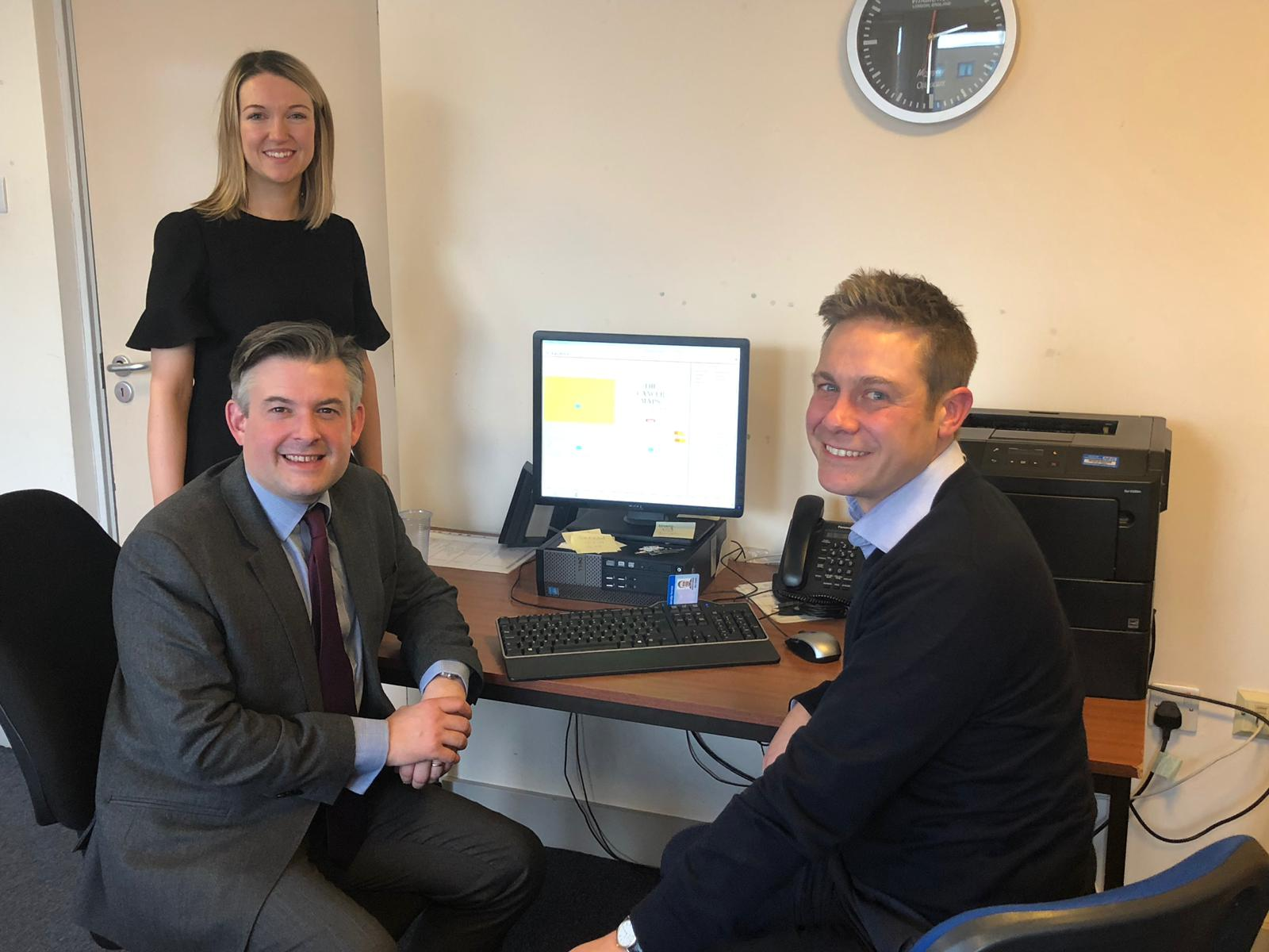Jon visits Woodbrook Medical Centre in Loughborough to discuss cancer maps diagnostic tool with its inventor Dr Ben Noble - Friday January 18 2019