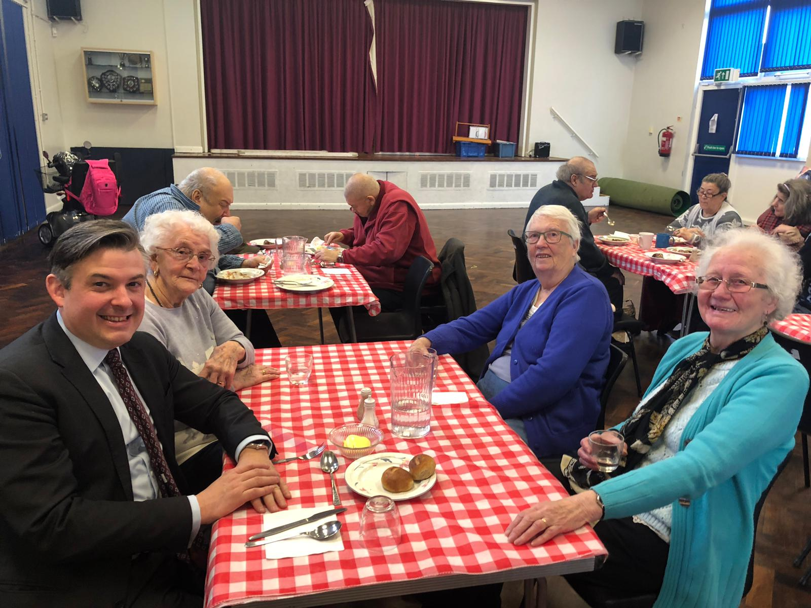 Jon drops into the Lunch Club at Eyres Monsell Community Centre - Friday February 1 2019