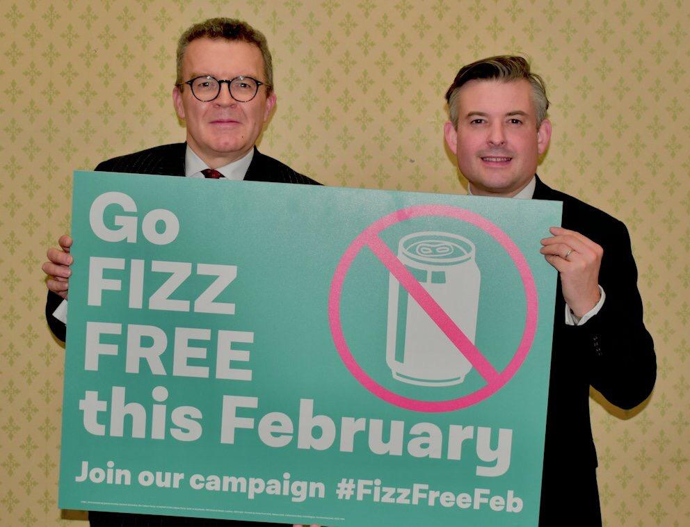 I'm backing Fizz Free February by giving up fizzy drinks for February to raise awareness of sugar related obesity - Friday February 1 2019