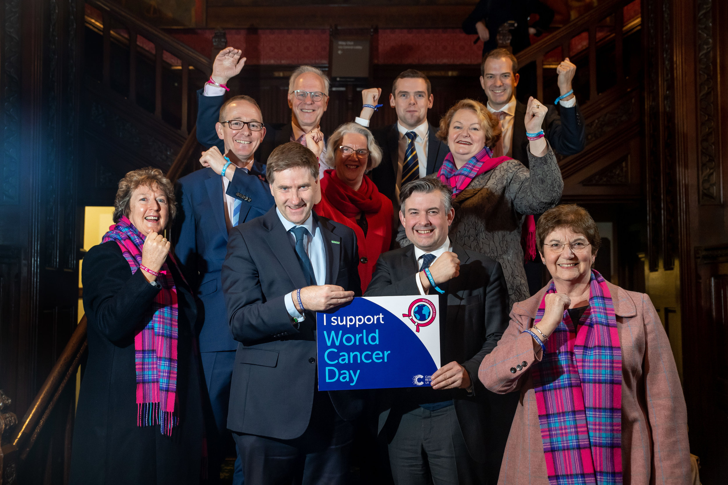 Jon joined a cross-party group of politicians to show support for people affected by cancer, as the Parliament was illuminated for the World Cancer Day - Monday February 4 2019