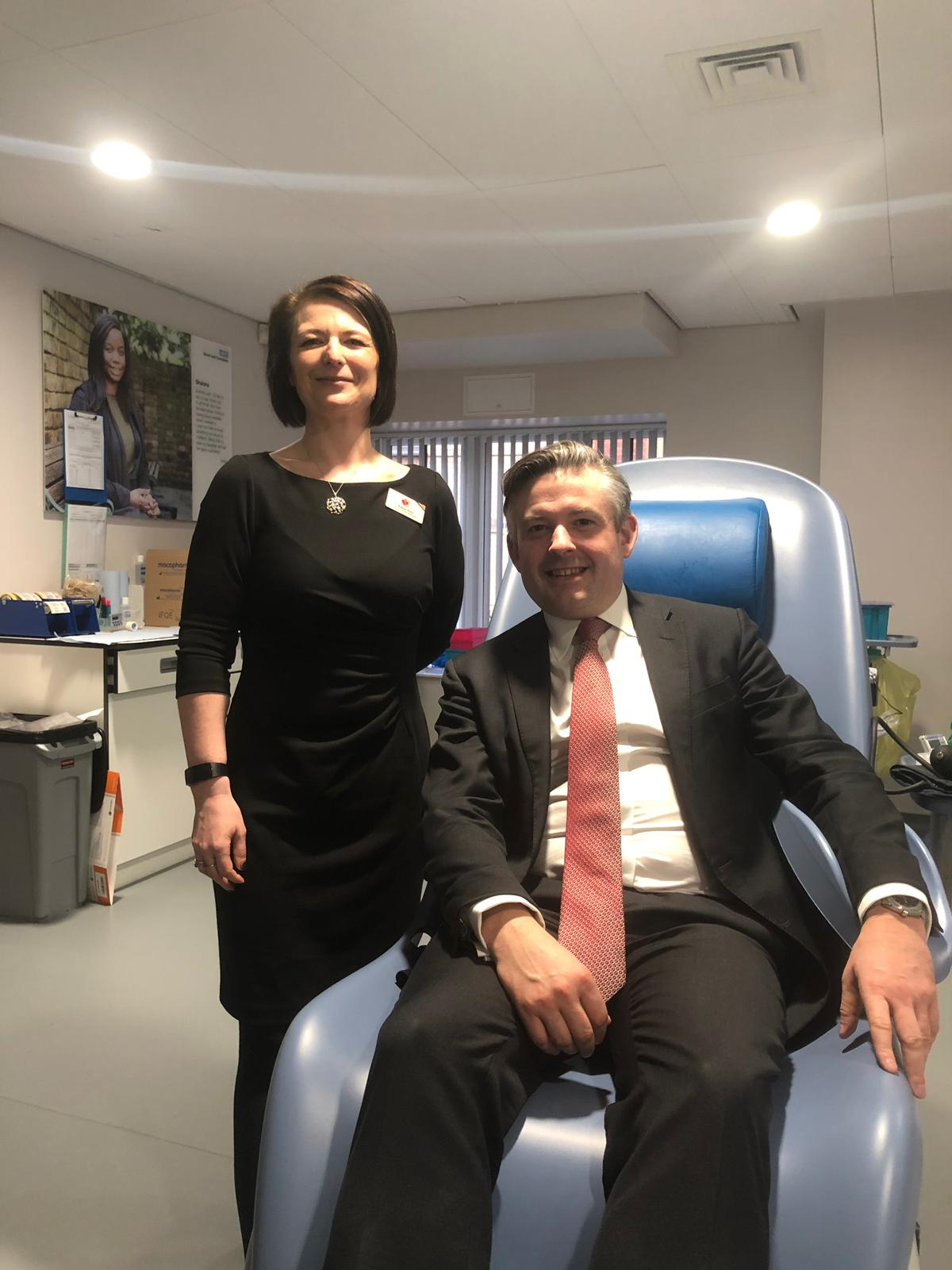 Jon at the Leicester Blood Donor Centre urging local people to step forward and register as blood donors - Friday March 1 2019