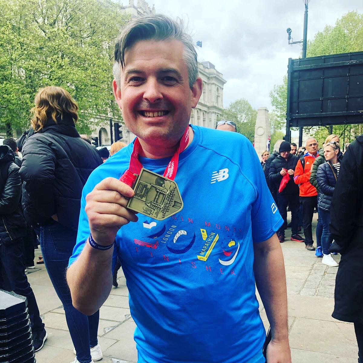 "After completing the London Marathon Jon said: ""I've been overwhelmed with huge support from people across Leicester South again for what is my third London Marathon for the children of alcoholics charity Nacoa."" - Monday April 29 2019"