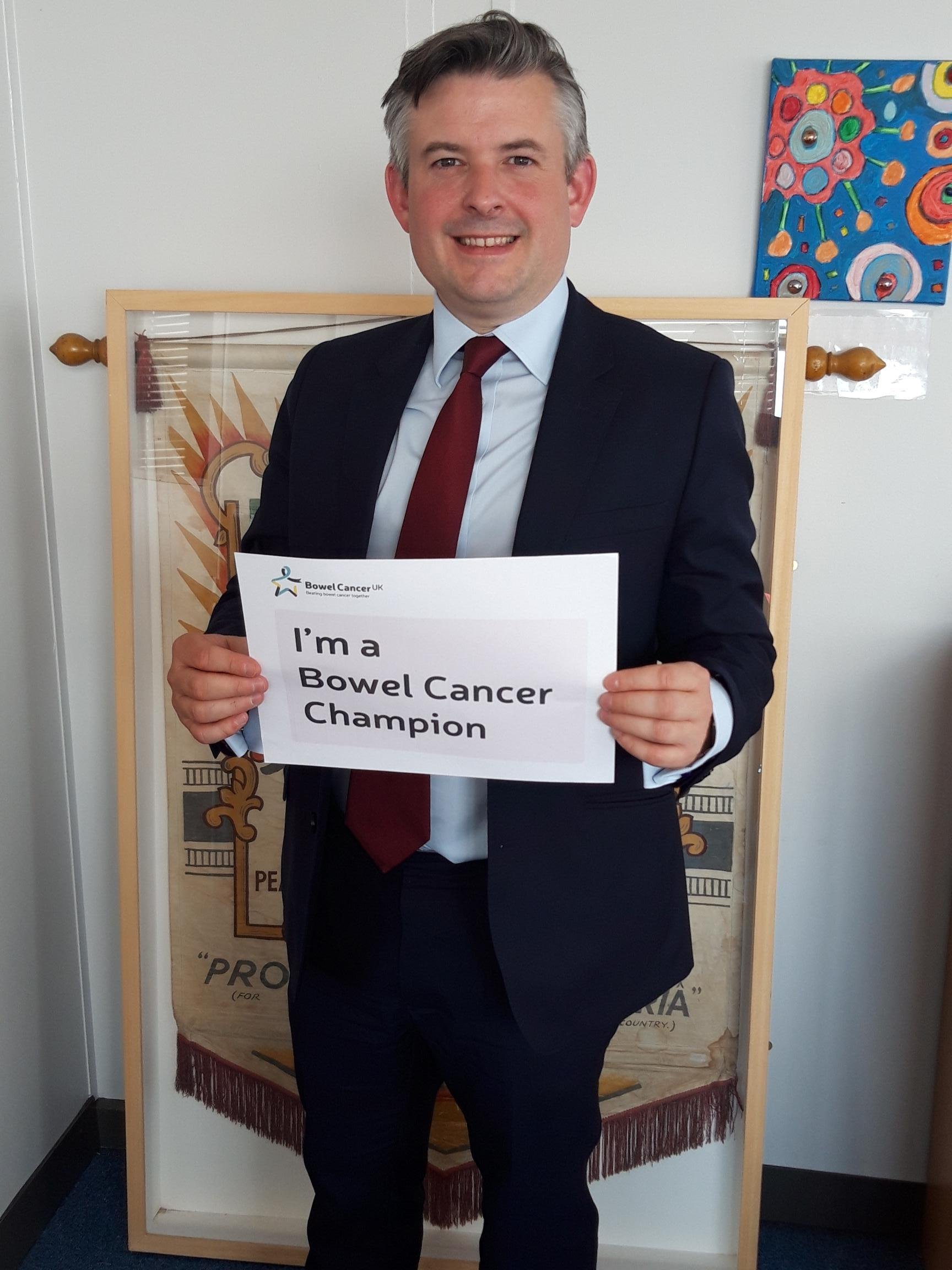Jon has pledged to be a bowel cancer champion and lead change in Parliament for people affected by the disease - Friday May 24 2019
