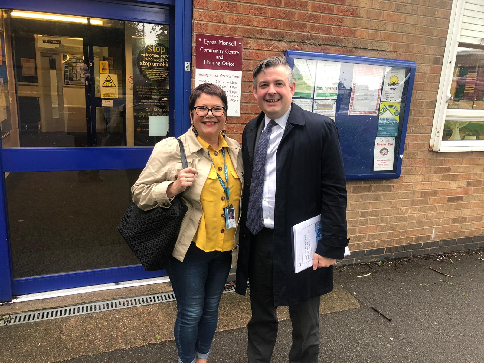 Jon out and about in Eyres Monsell with Councillor Elaine Pantling after a busy advice session - Friday June 7 2019