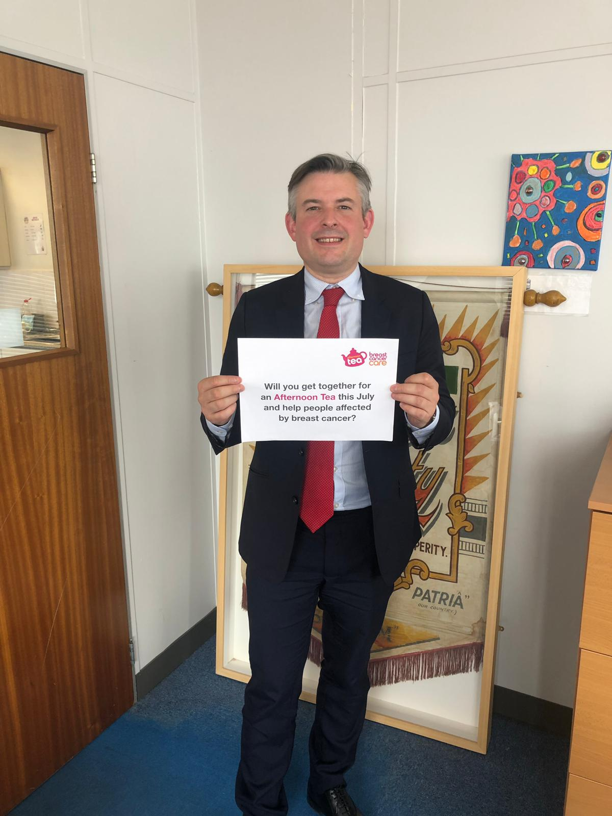 Jon is encouraging everyone to get together for Breast Cancer Care and Breast Cancer Now's Afternoon Tea this July to help the charity fund vital research and support for those affected by breast cancer.For more information please visit:www.breastcancercare.org.uk/cuppa - Monday June 17 2019
