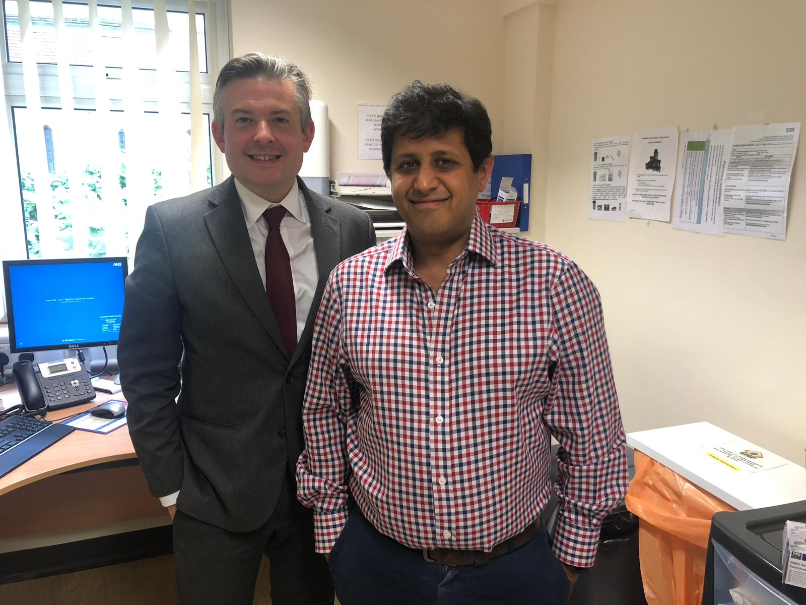 Jon met with Dr Rishabh Prasad at Springfield Road Surgery to discuss their innovative work using digital technology to support patient care - Friday June 21 2019