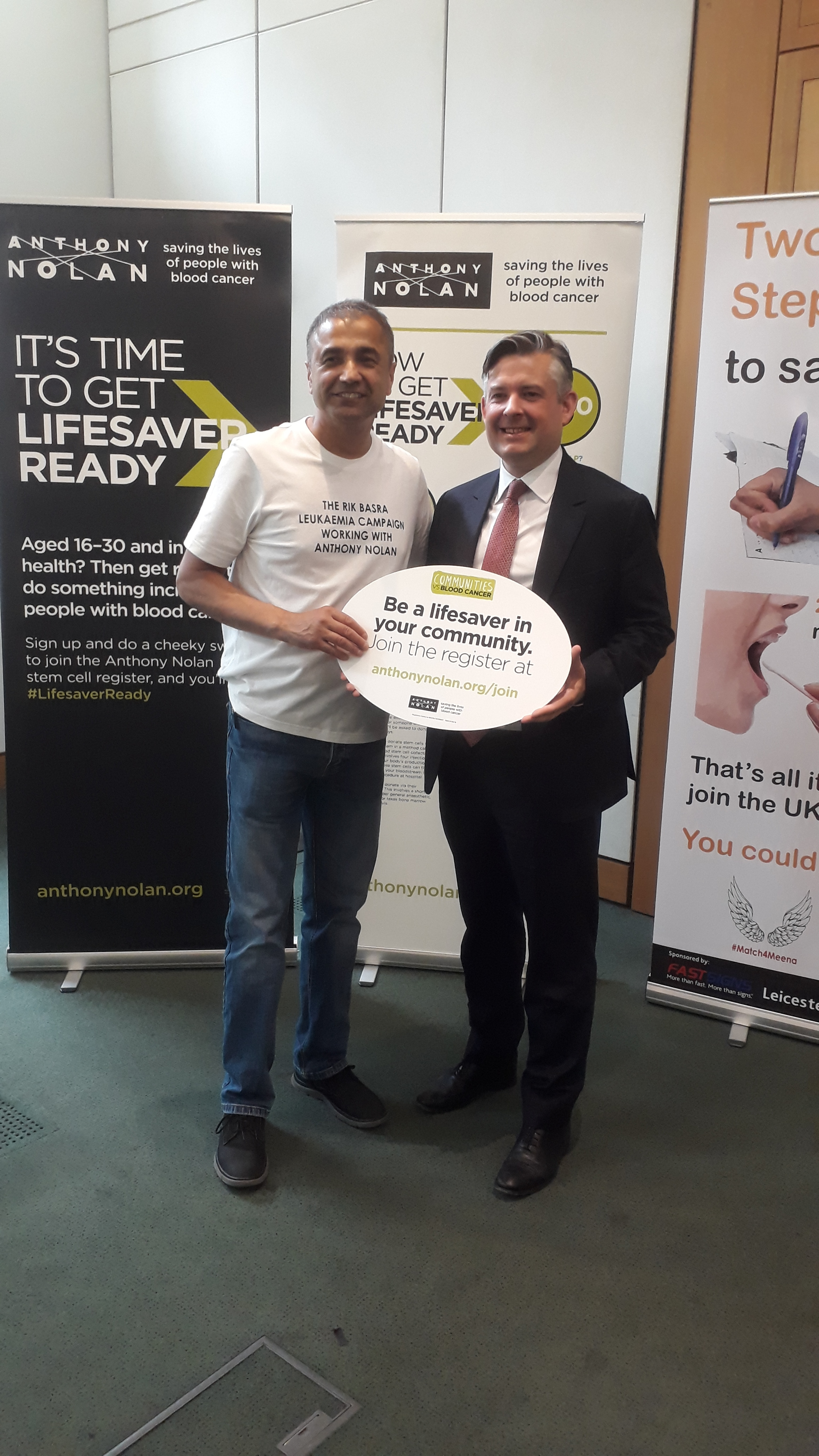 Jon supporting the Rik Basra Leukaemia Campaign and #Match4Meenaat at a cross-party Parliamentary event - Wednesday July 17 2019