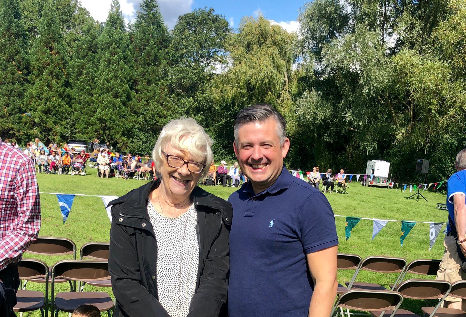 Jon and Councillor Lynn Moore at Knighton Park Community Fun Day - Sunday September 1 2019