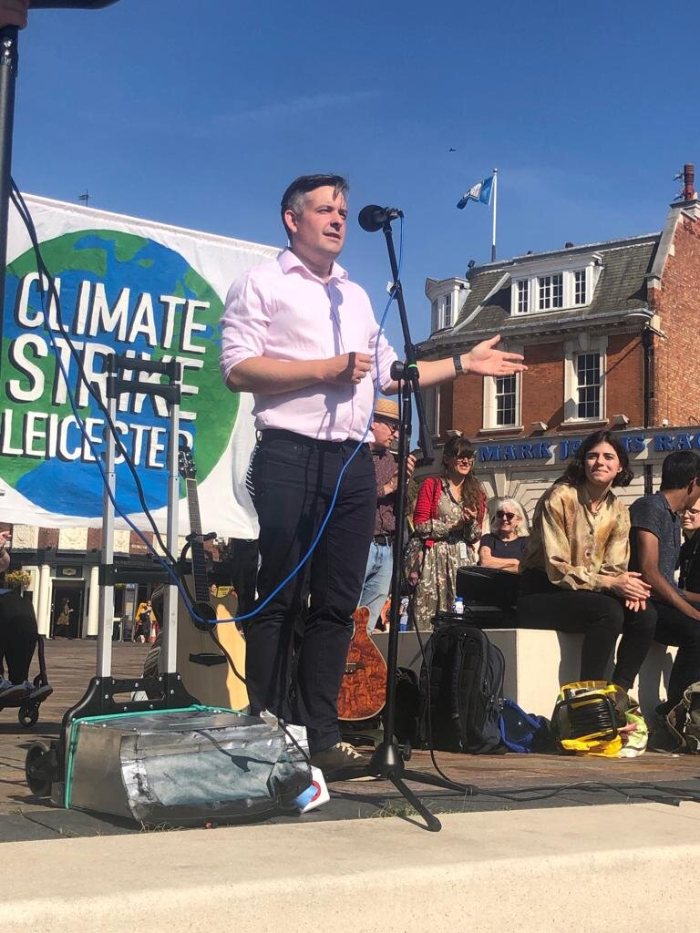 Jon speaking at Leicester Climate Strike rally and outlining Labour plan for a Green New Deal for the NHS - Friday September 20 2019