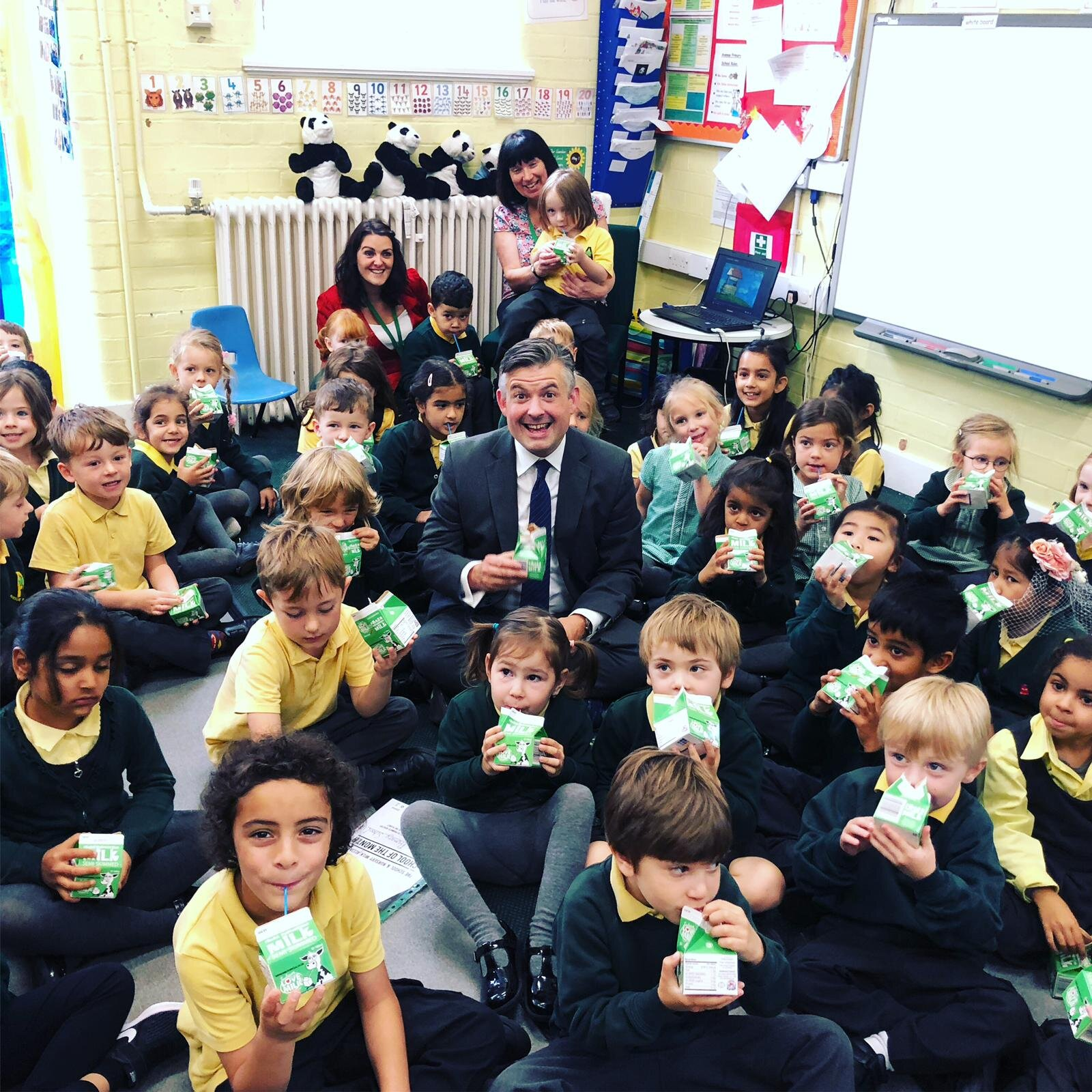 Jon visiting Avenue Primary School as part of World School Milk Day, and congratulating the staff as the school receives award winning recognition for promoting school milk - Friday September 27 2019