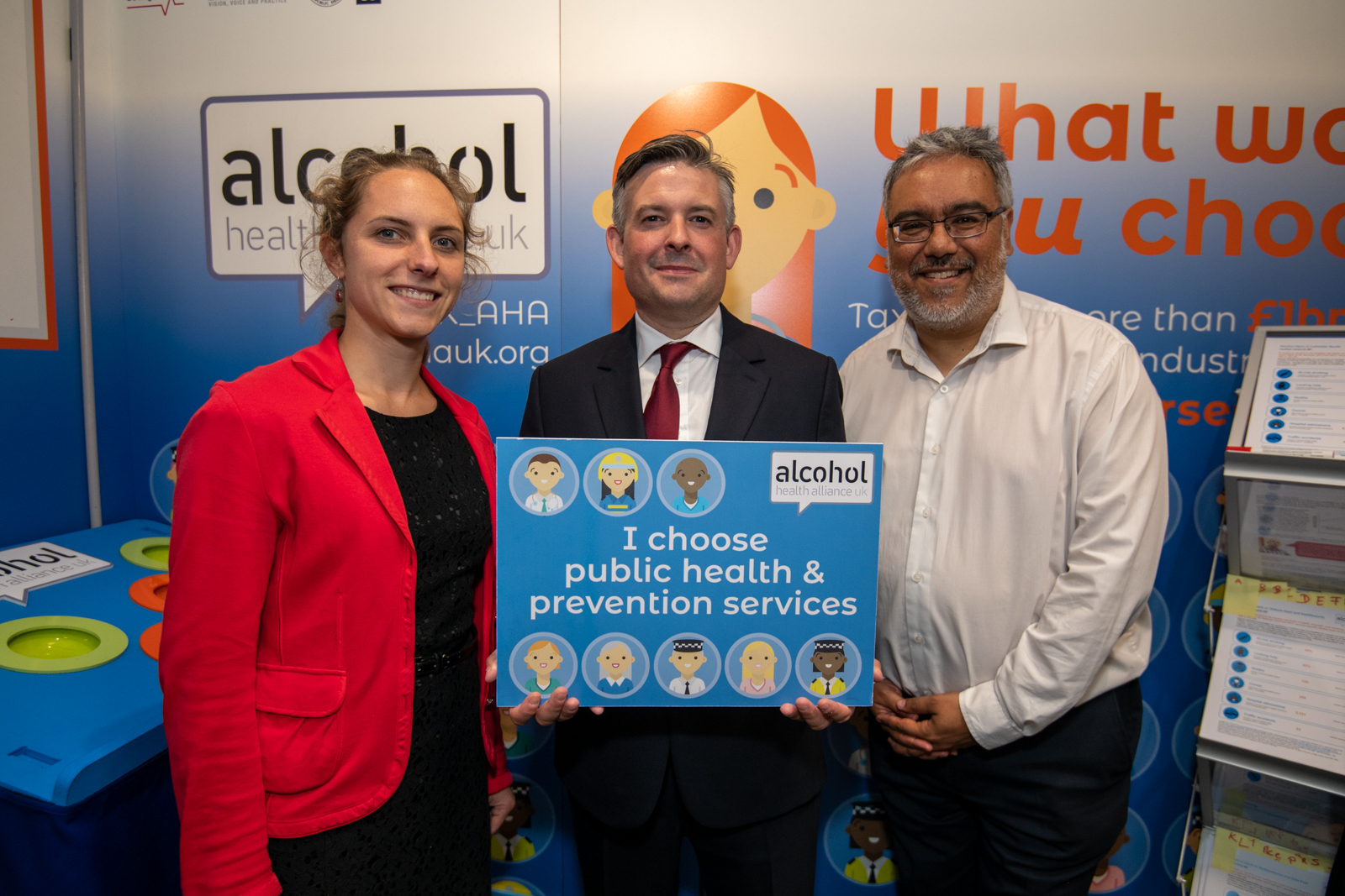 Jon visiting the Alcohol Health Alliance stand at the Labour Party Conference and discussing ways to tackle alcohol harm - Wednesday September 25 2019