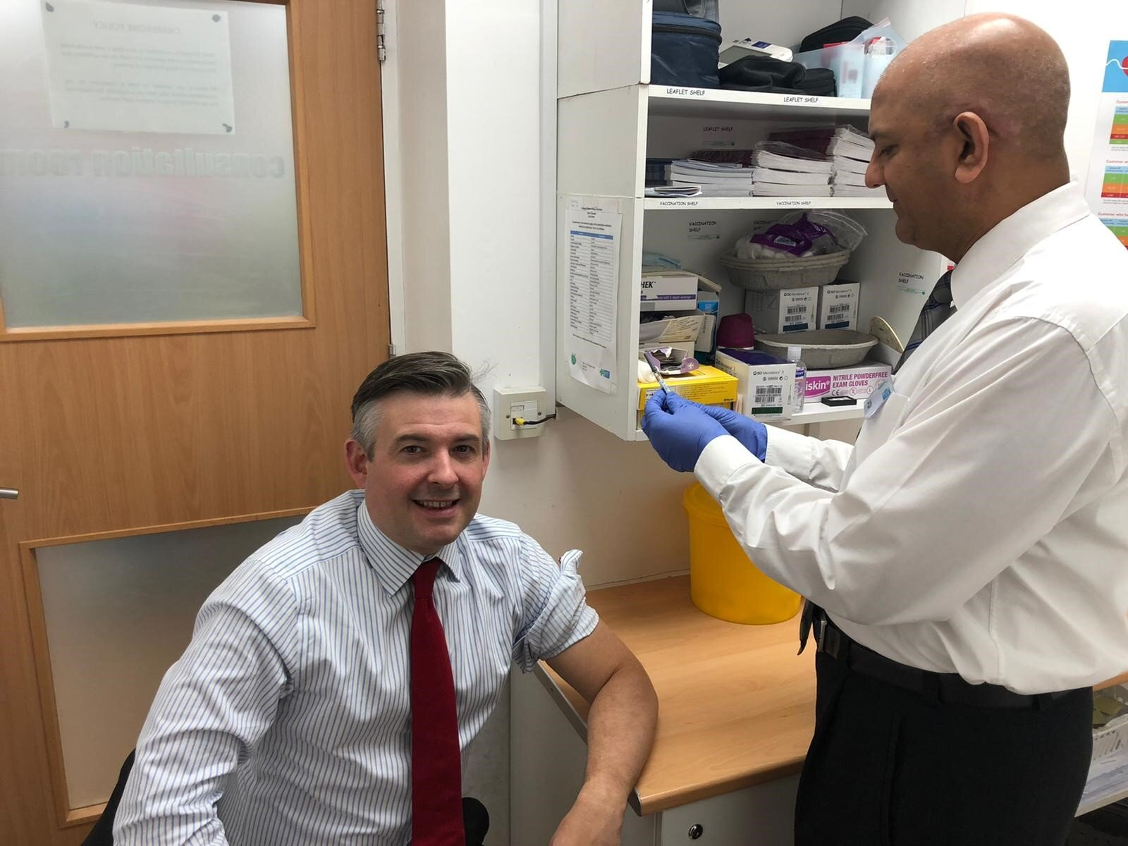 Jon at Pearl Chemist encouraging constituents to follow his lead and get a flu jab - Friday October 18 2019