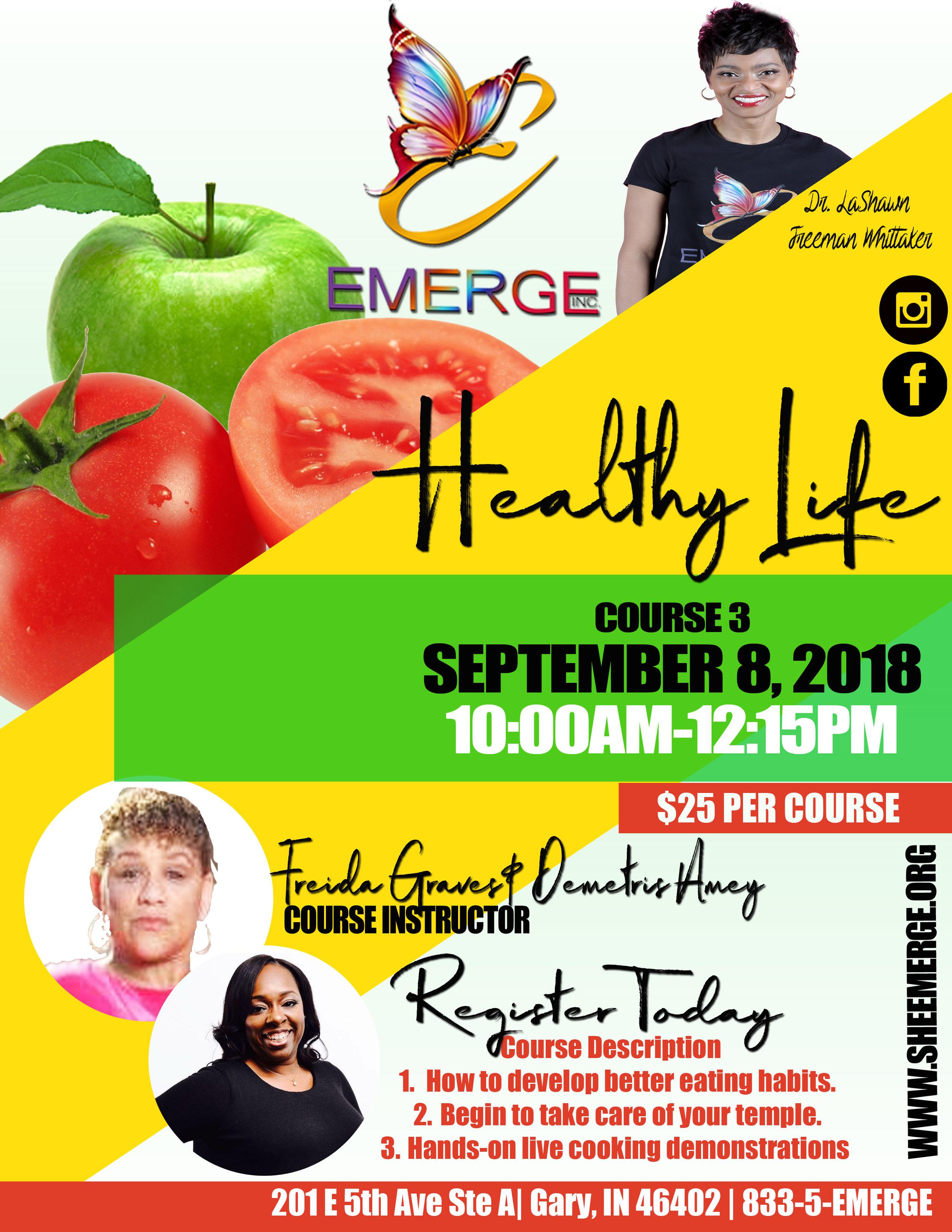 Course 3: A Healthy Life 2 - Session Start Date: September 8, 2018Course Description: Good Habits, Bad Food, ExercisePresenter: Freida Graves & Demetris AmeyTime: 10:00am-12:15pmLocation: 201 E 5th Ave Ste D