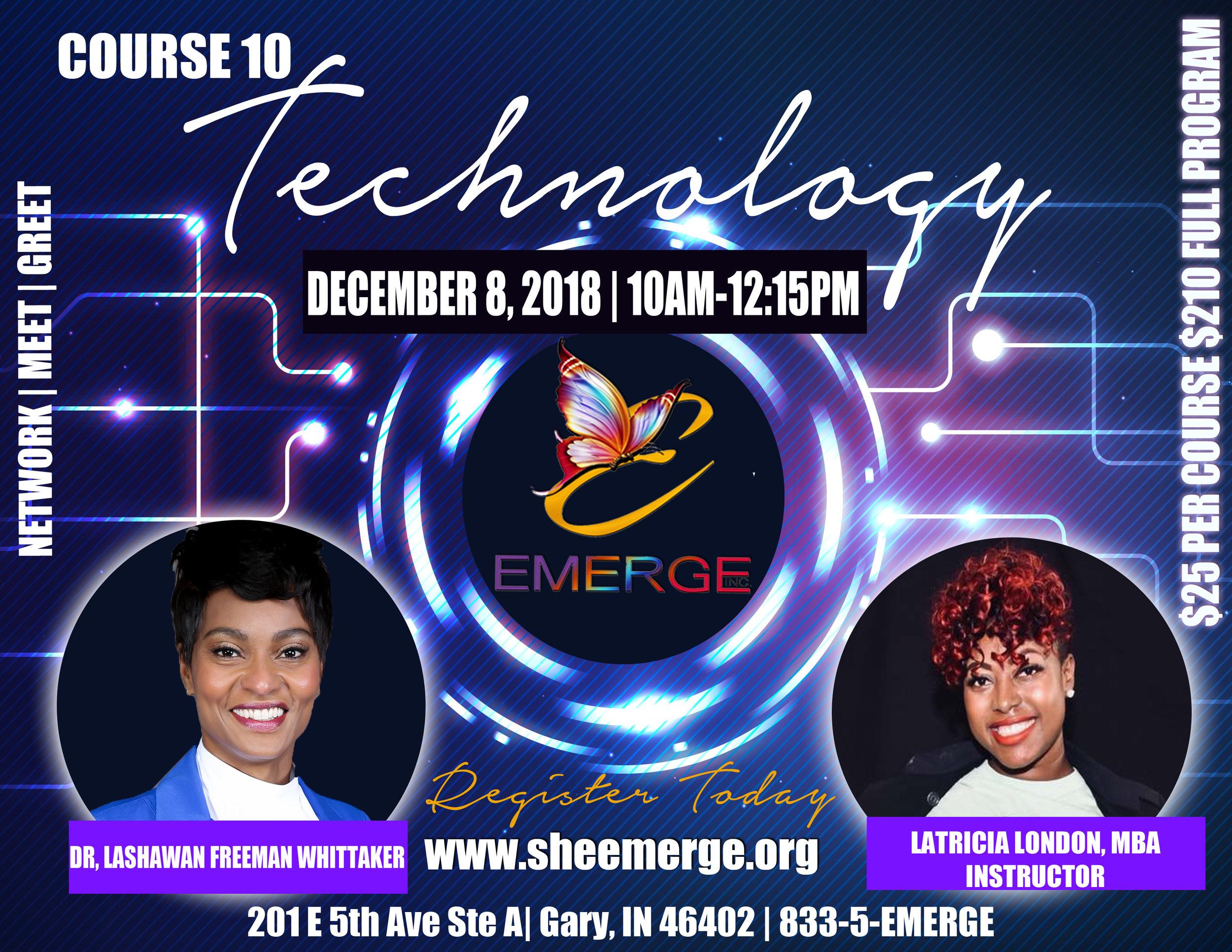 Course 10: Technology - Session Start Date: December 8, 2018Course Description: Hands on computerPresenter: Latricia LondonTime: 10:00am-12:15pmLocation: 201 E 5th Ave Ste D