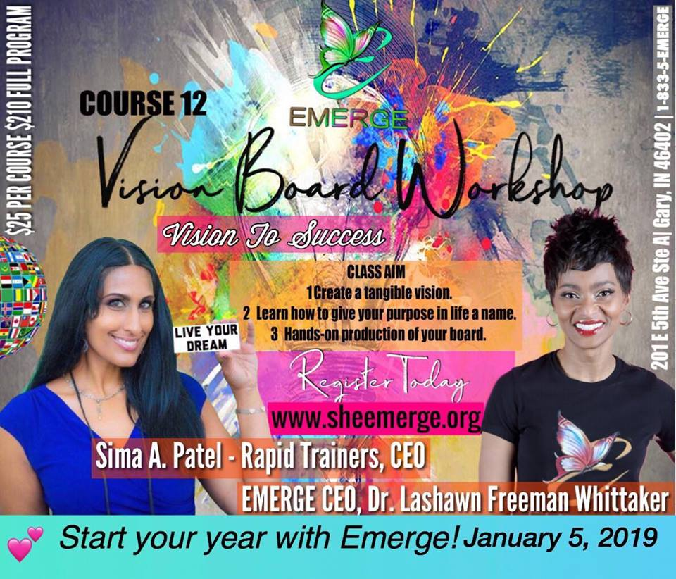 Course 12: Vision To Success - Session Start Date: January 5, 2018Course Description: Create a tangible vision. Learn how to five your purpose in life a name. Hands on production of your board.Presenter: Sima PatelTime: 10:00am-12:15pmLocation: 201 E 5th Ave Ste D