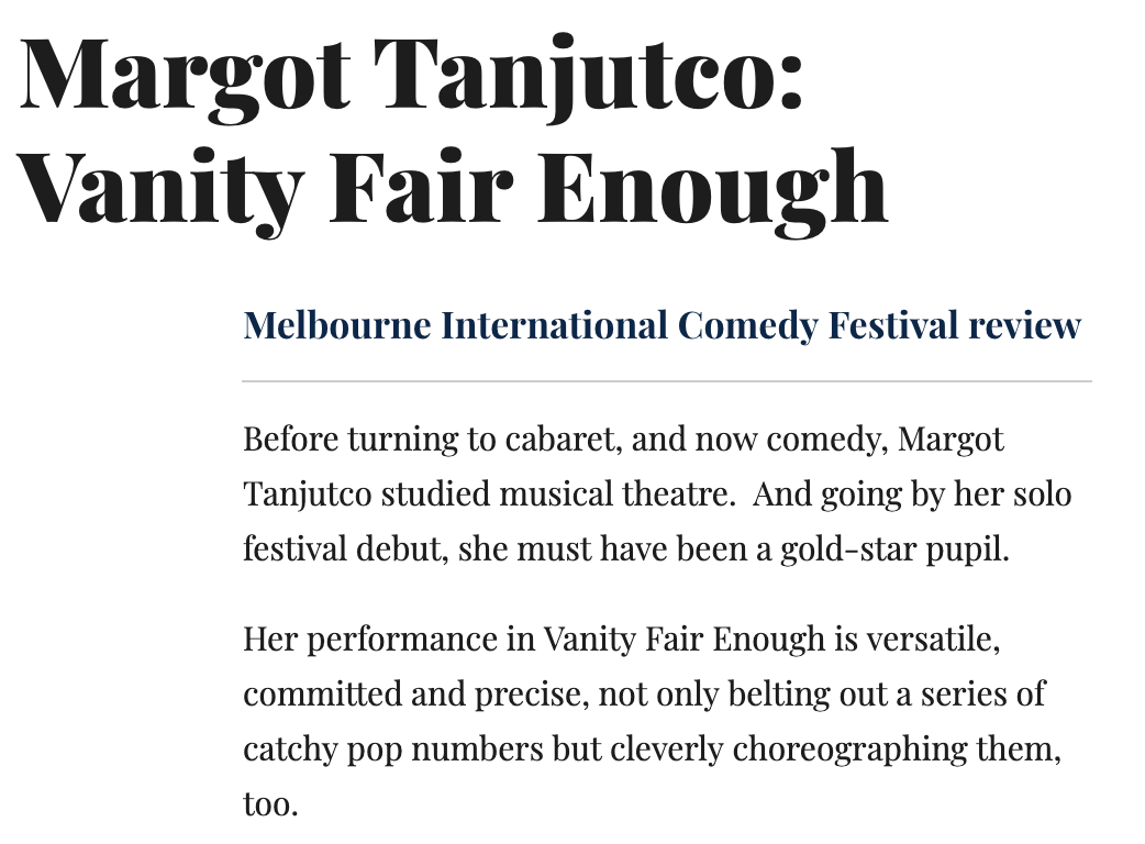 Review: Vanity Fair enough - By Steve Bennett for Chortle