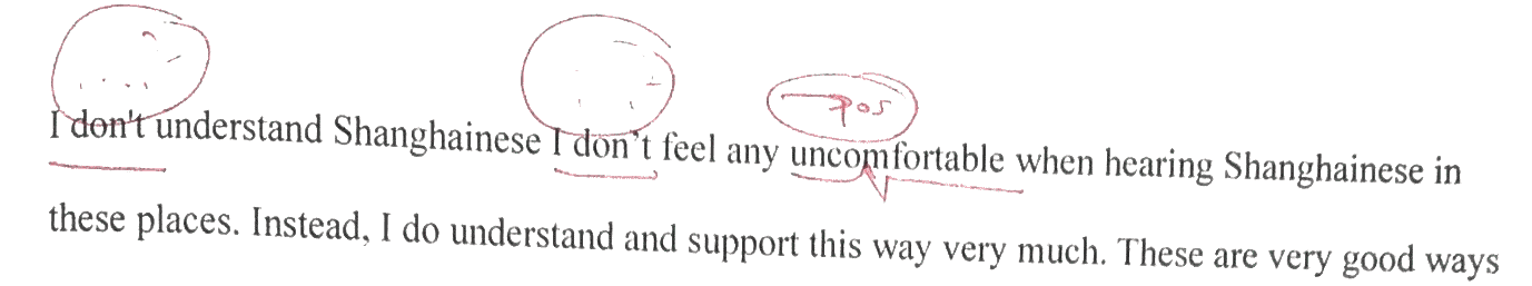 don't feel any  discomfort  (uncomfortable is an adjective, the noun is discomfort)