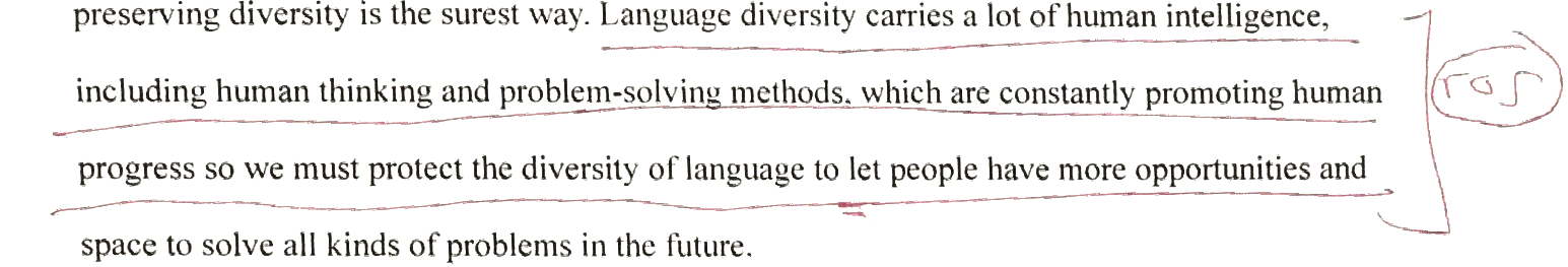 Language diversity carries a lot of human intelligence, including human thinking and problem-solving methods, which are constantly promoting human progress . So  we must protect the diversity of language[s] . . .