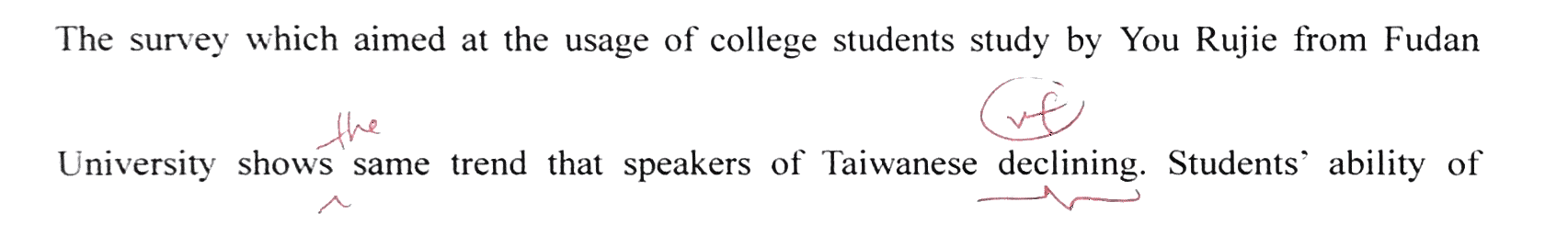 that speakers of Taiwanese  are declining