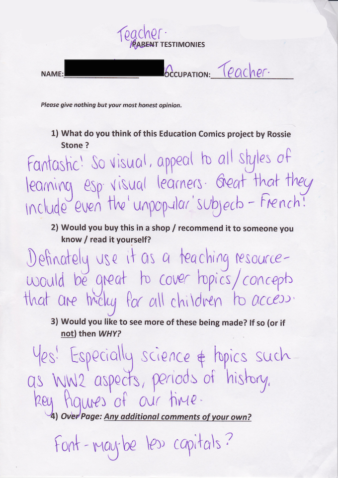 Review from teacher of Blackfriars Primary school, based on her experience with Dekko Comics.
