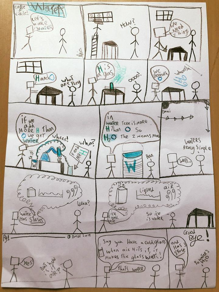 An example of a COMIC that one boy made at one of our autism-support workshops, teaching how water is made. Pupils aren't just encouraged to do comics, but whatever they feel comfortable with. We get songs, raps, posters, performances, board games, sports references and all sorts at these workshops; and all of them are awesome!