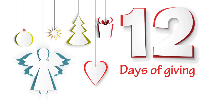 12 Days of Giving logo featuring an angel, a heart, a Christmas tree, a present and a bauble.