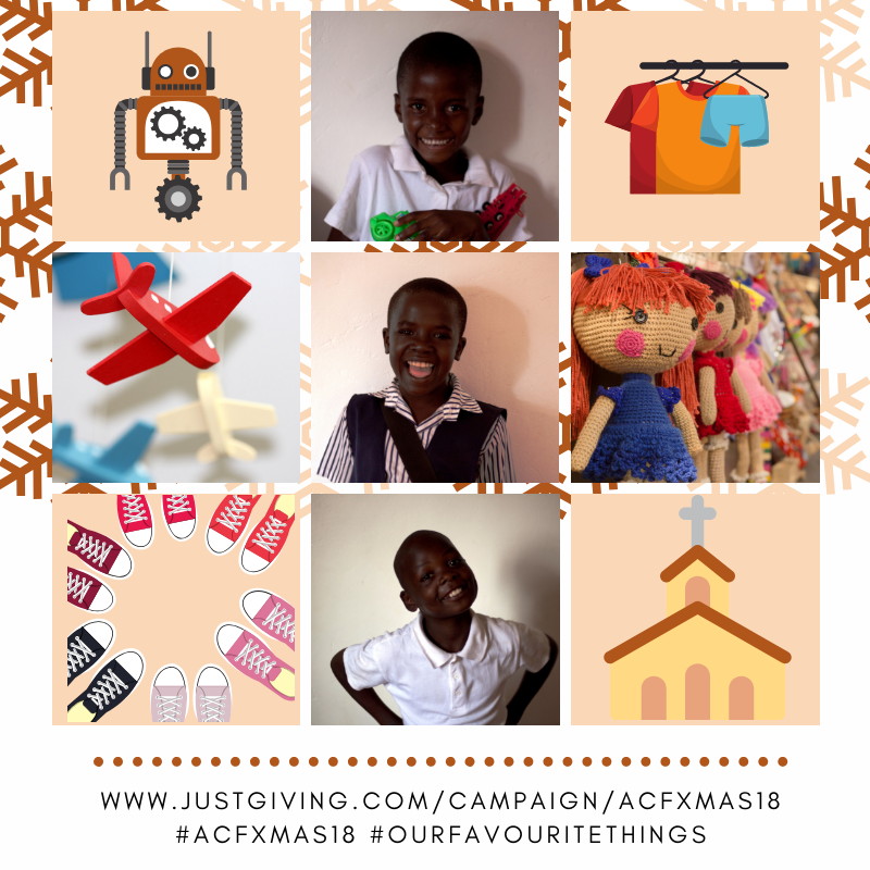A montage of the Christmas wishes from some of the children at SAFE Uganda, featuring 3 photos of children, an illustration of a toy robot, an illustration of some clothing, a photo of a red, toy aeroplane, a photograph of some knitted toy dolls, an illustration of shoes and an illustration of a church.