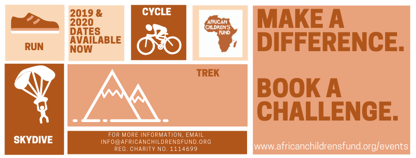 Header in African Children's Fund terracotta-based shades with graphics representing running, skydiving, trekking and cycling.