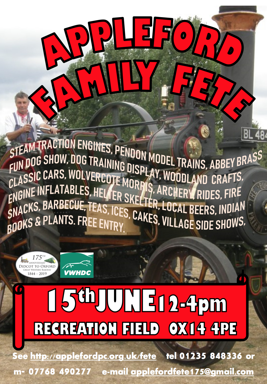 Appleford Family Fete poster featuring a steam engine, with words written over the top to describe what to expect dueing the day.