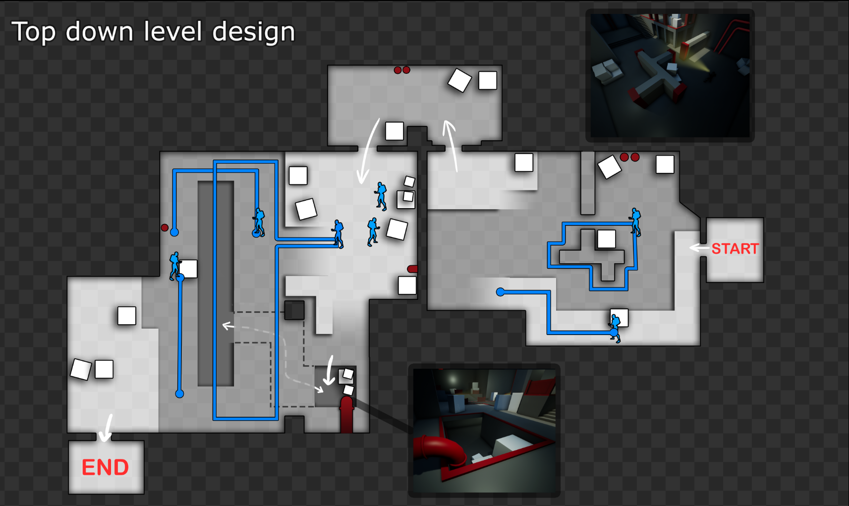 Top down map of the level in it's final state.