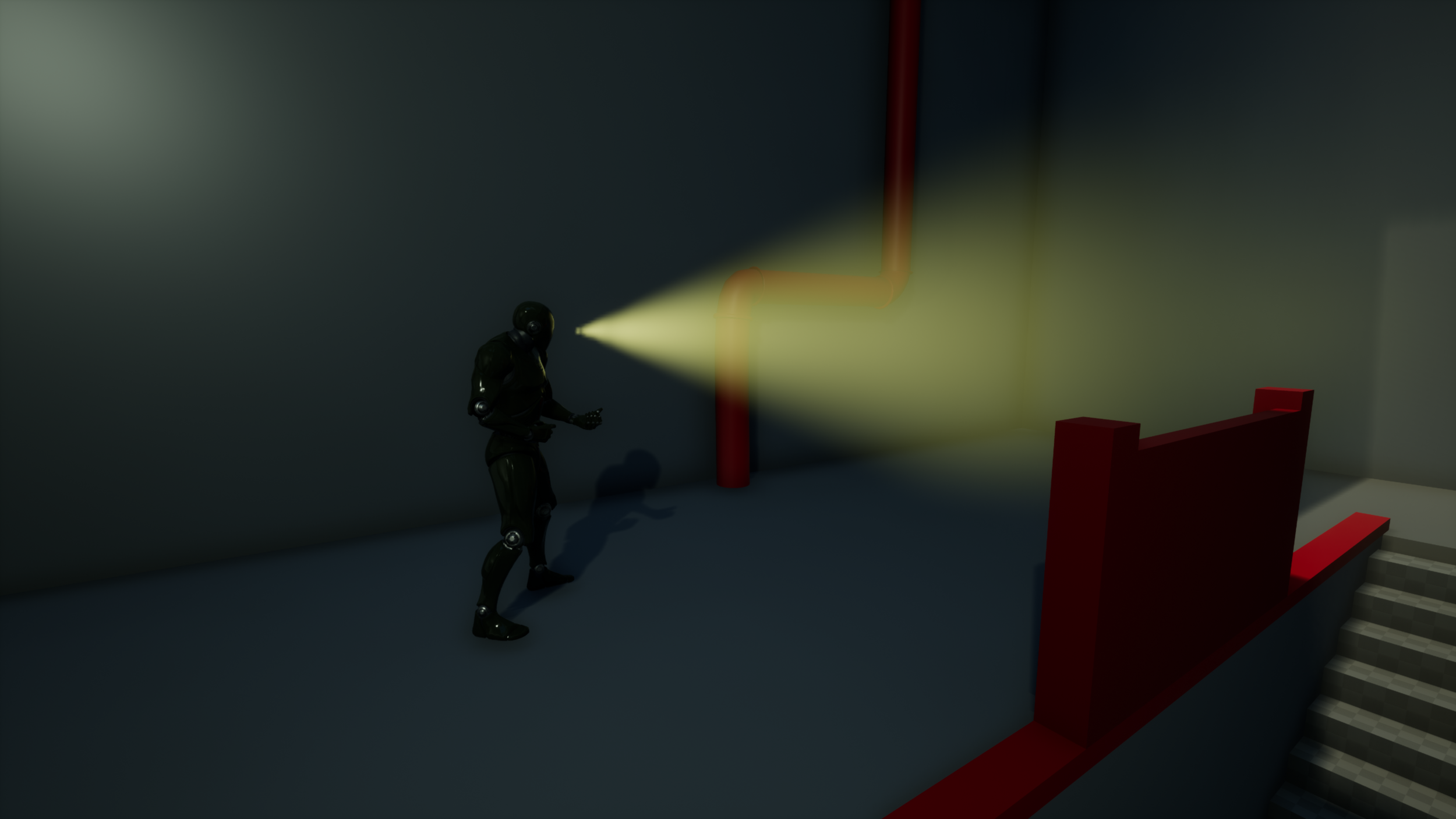 A Guard inside the game. Clearly communicated Cone-of -Vision in front that changes colour depending on guards alertness state.