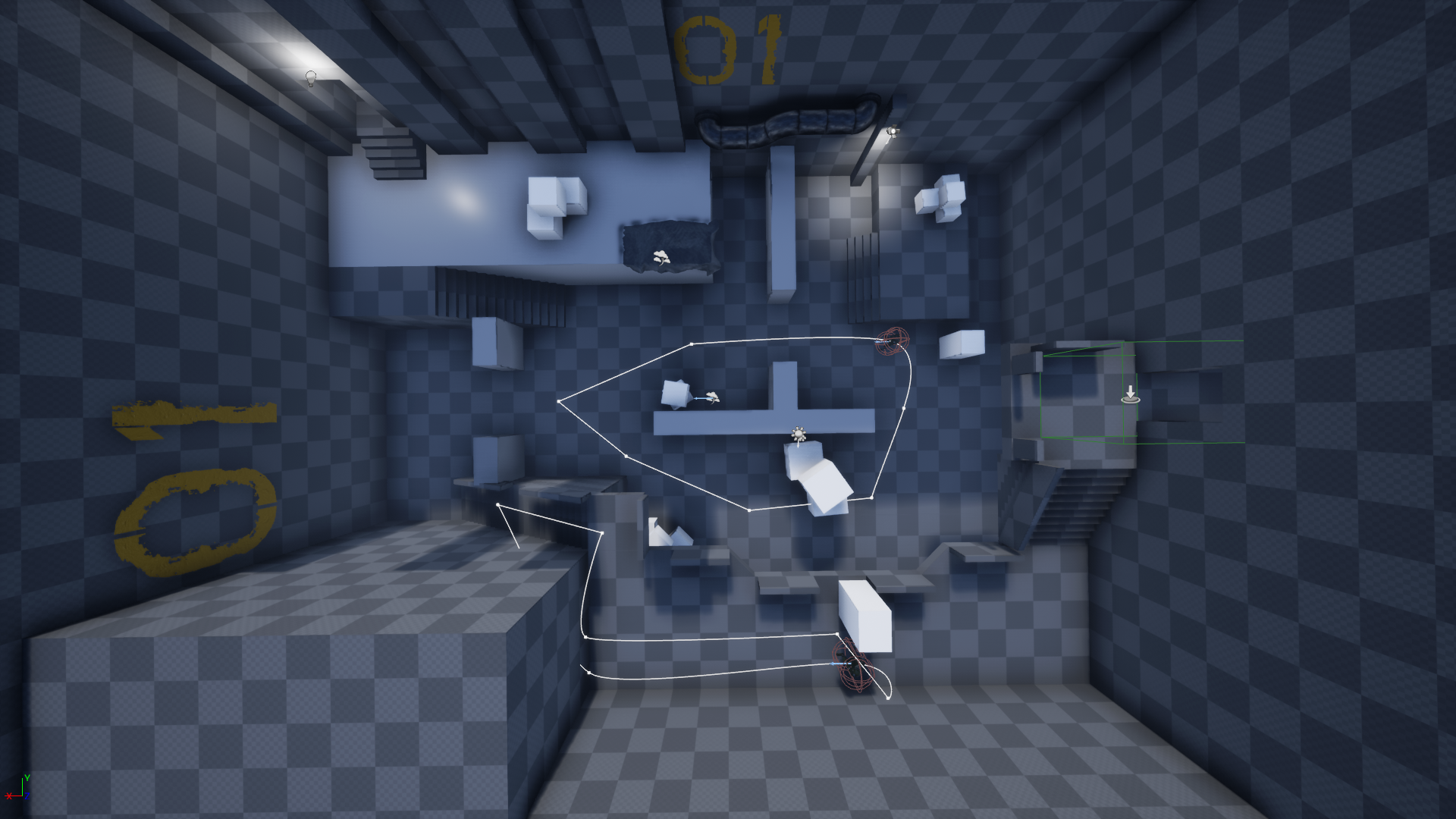 Early version of the level, a lot of things have changed since this version. The base level design from the sketch is kept however, because I thought it worked quite well.