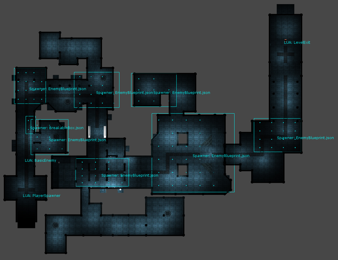 Top down map of the first level. Enemy zones are visible, this is how we spawned most enemies.