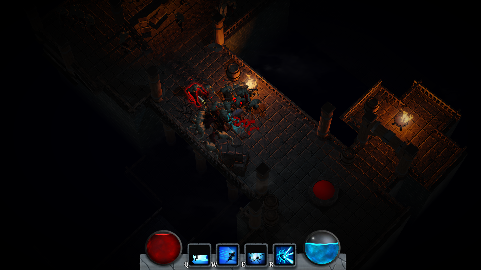 Starting area of level 3, already with a lot of enemies attacking and dying.