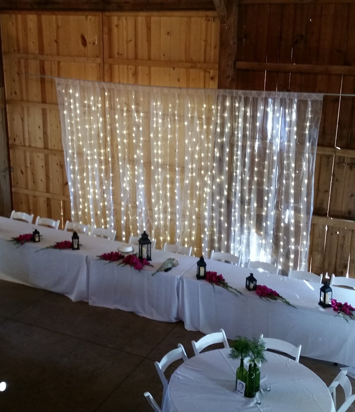 Light Curtain - Description ~ This curtain stands 10 feet tall and can adjust up to 10 feet wide. The lights can remain fixed or set to light patterns.  Complete with stand.Quantity ~ 1Price ~ $40