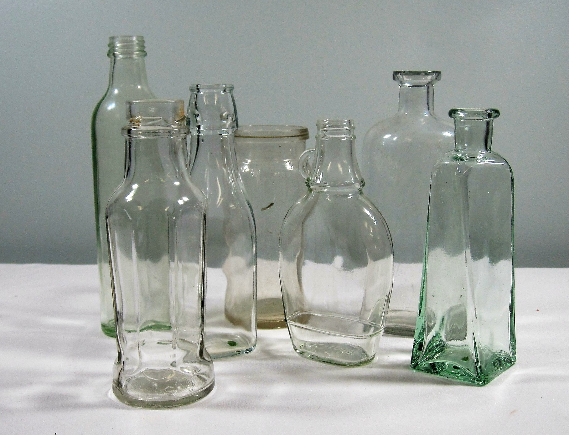 """Bottles, small - Description ~ different shapes & sizes from 3""""-7"""" tallQuantity ~ 100+Price ~ 12   $8"""