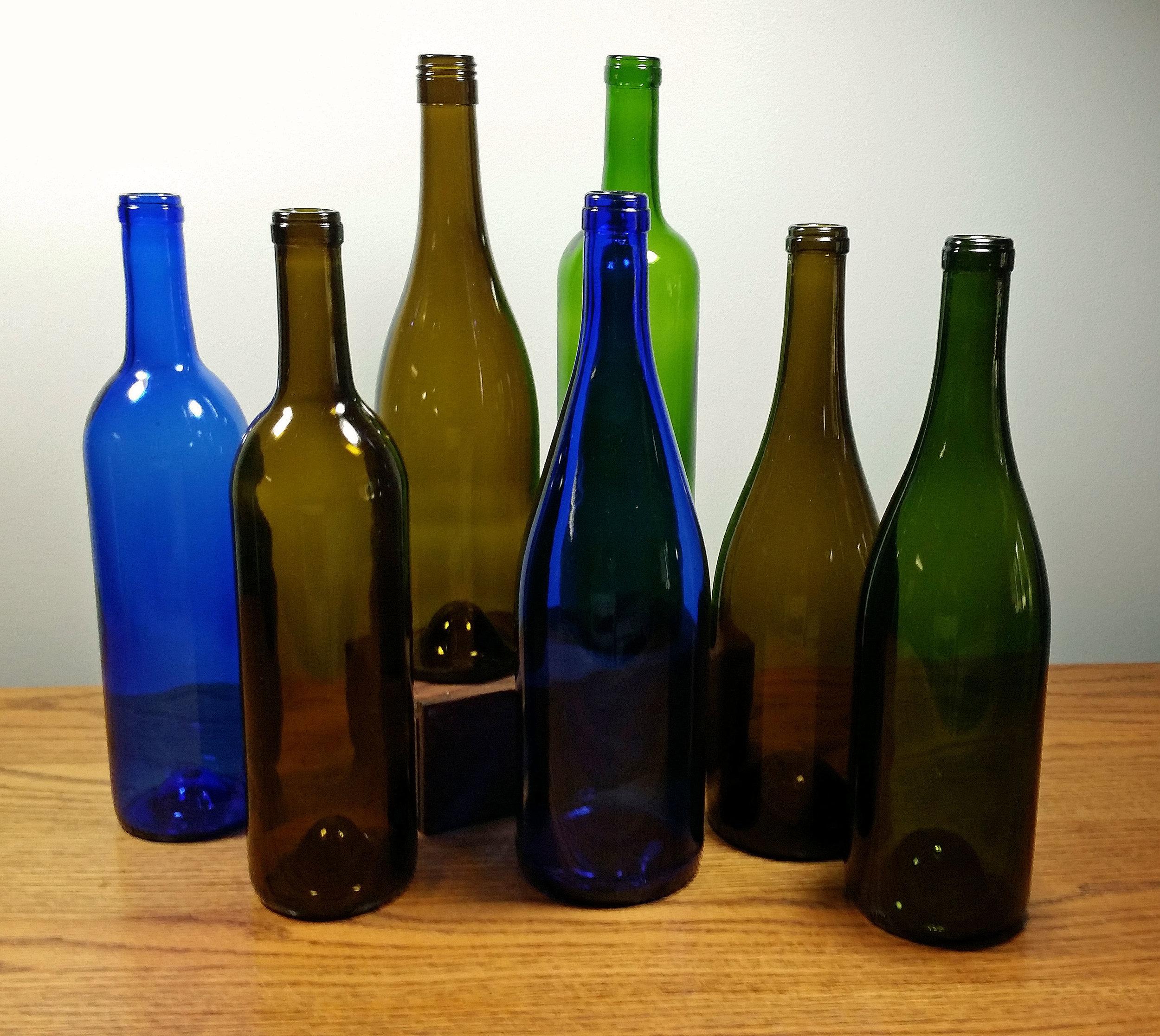 Wine Bottles - Description ~ clean bottles in blue, green or brownQuantity ~ 36Price ~ $1