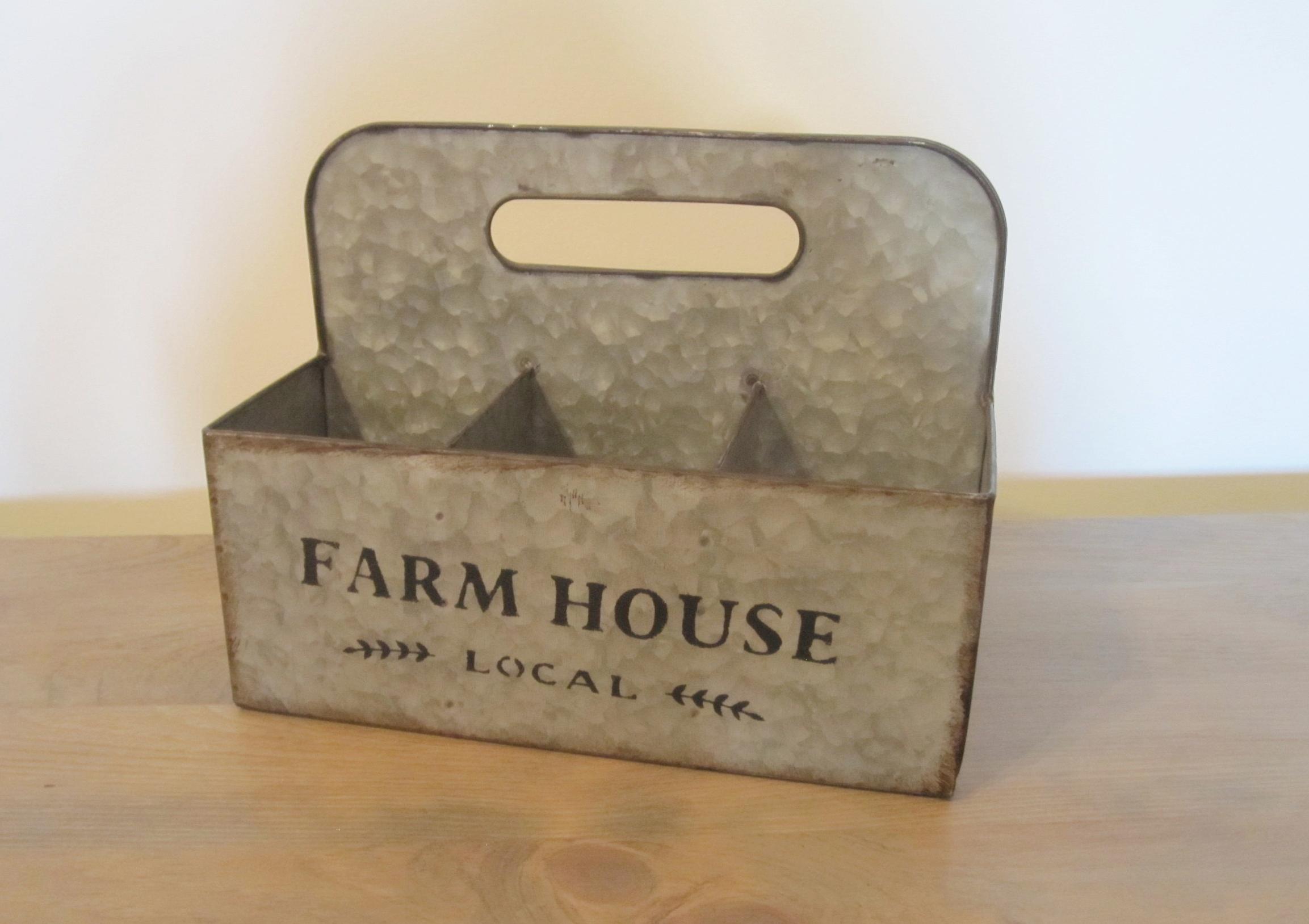 Farmhouse Tote - Description ~ 6 compartment tote; use for napkins, flatware, flowers....Quantity ~2Rental Price ~ $6
