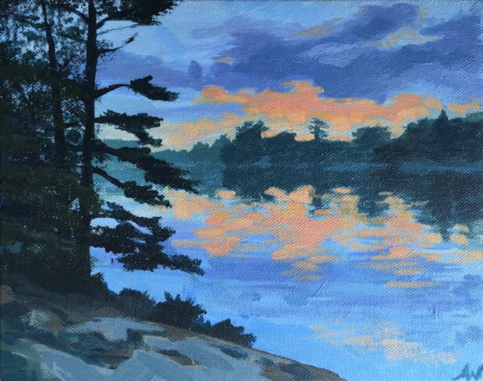 Pink Sky at Honey Harbour (acrylic)