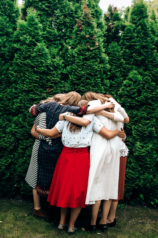 Sister group hug