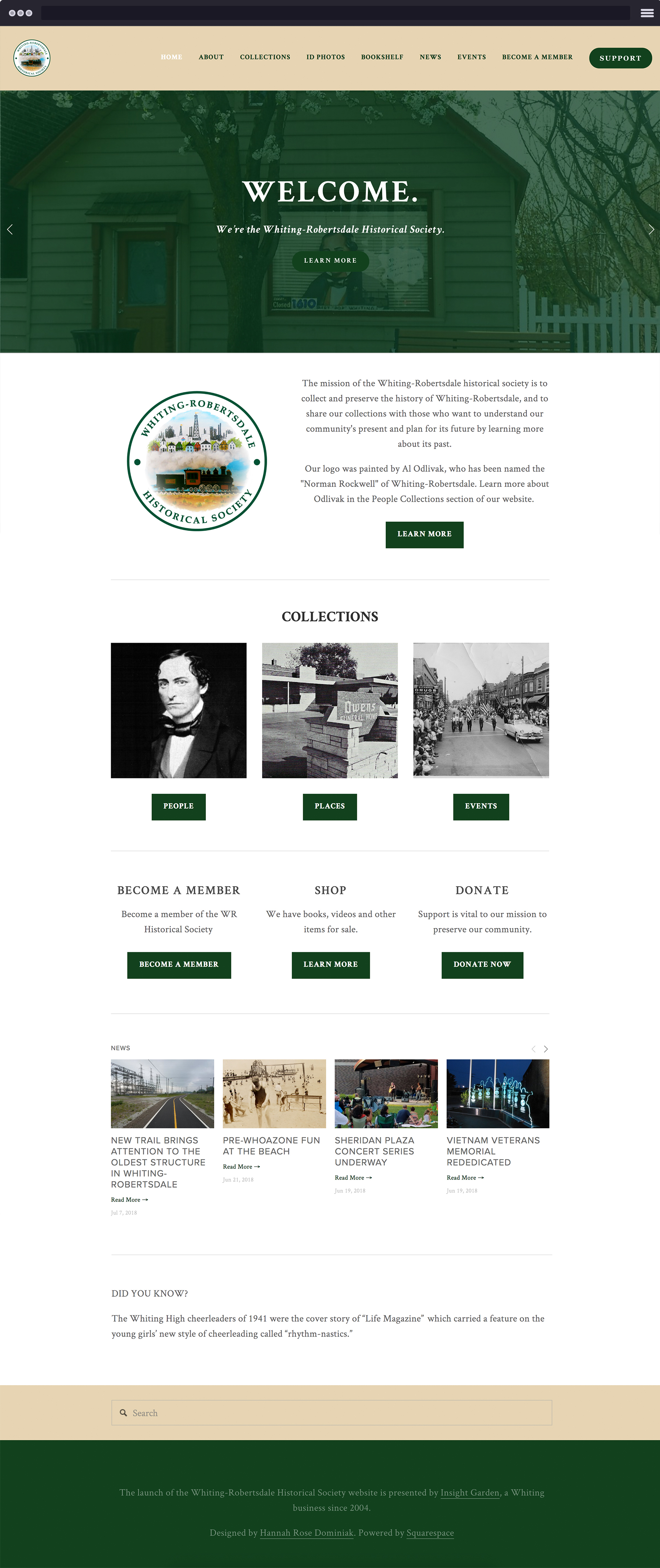 Whiting-Robertsdale Historical Society, a non-profit organization dedicated to preserving the history of the Whiting-Robertsdale community.