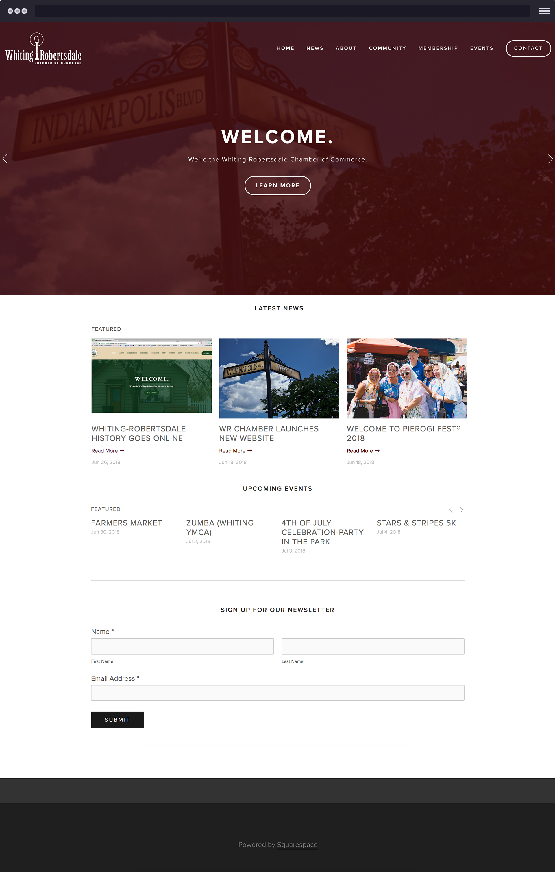 Whiting-Robertsdale Chamber of Commerce website. Full site launch coming soon. The Whiting-Robertsdale Chamber of Commerce is a non-profit organization in Whiting that helps promote and engage local businesses.