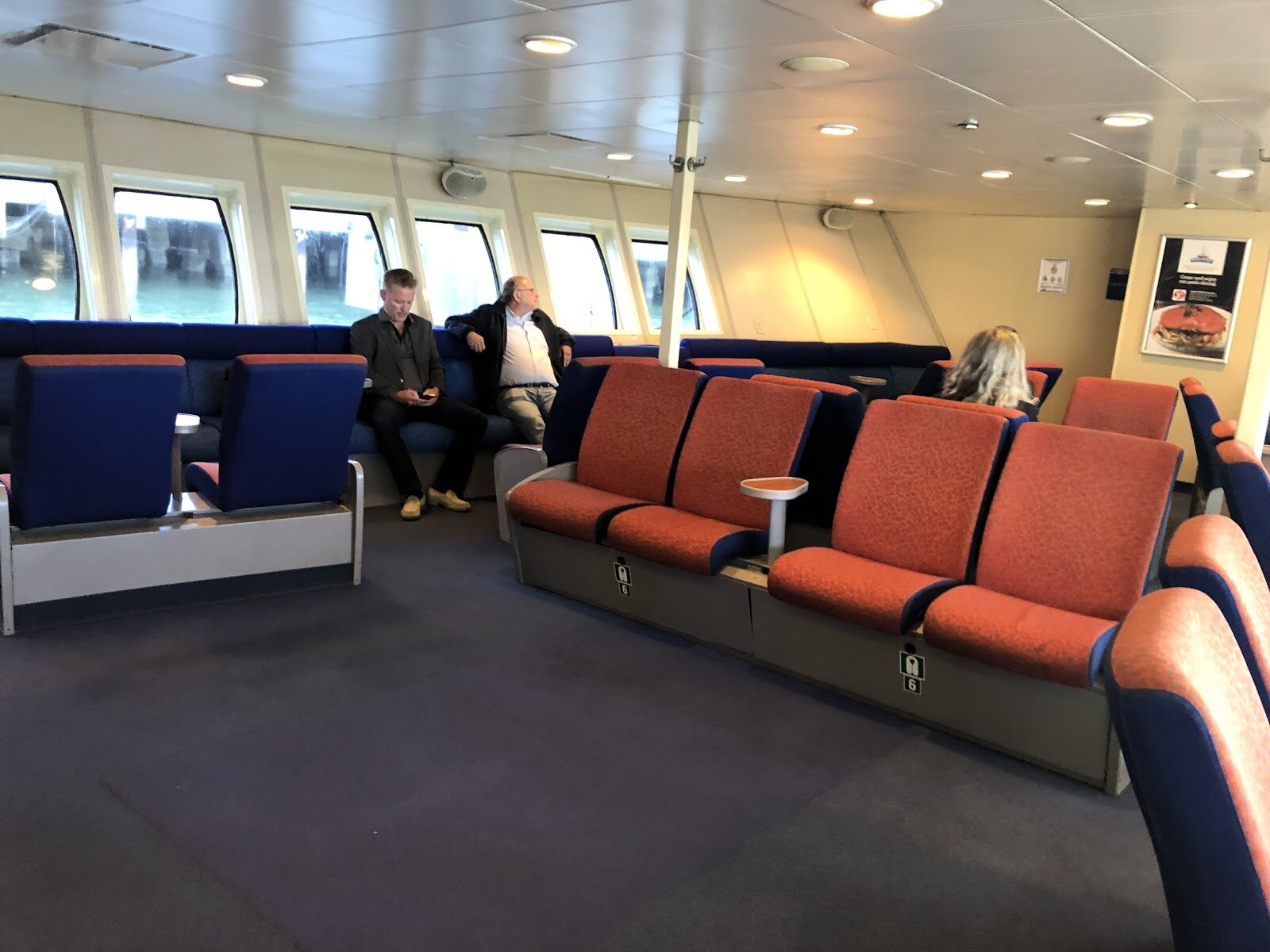 Lower level seating on the ferry