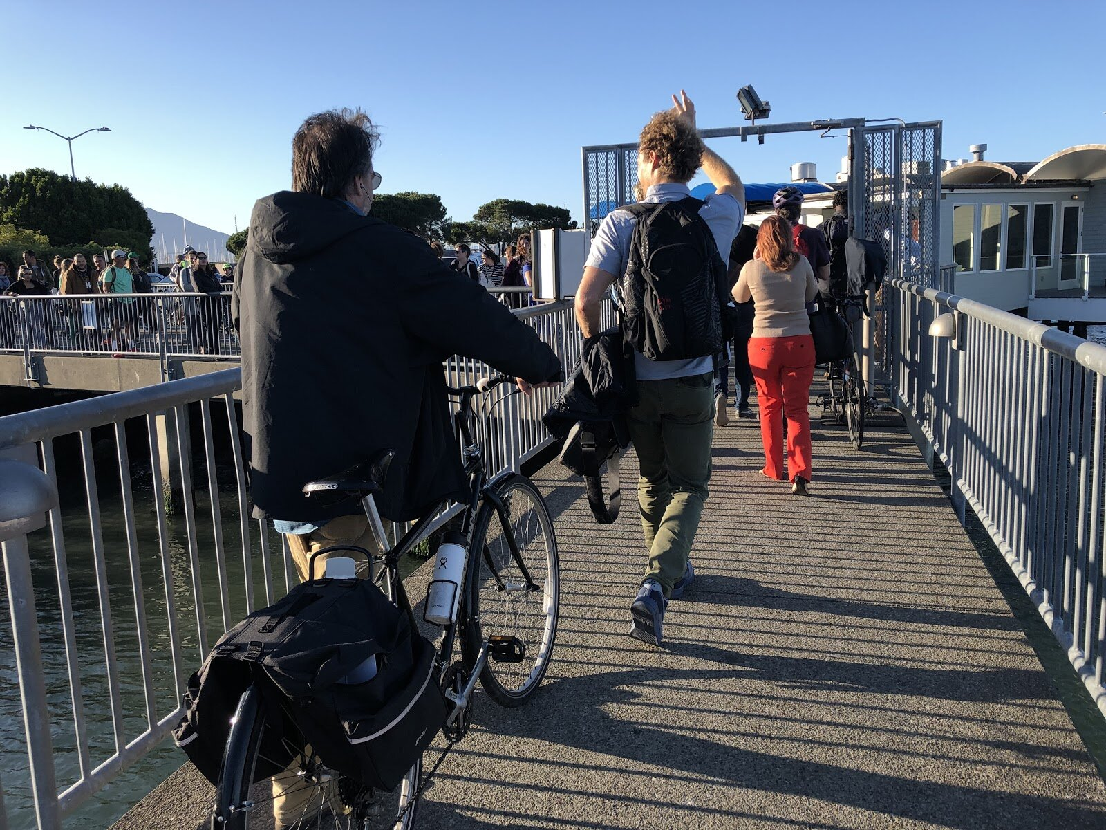 Departing the ferry and walking to Sausalito