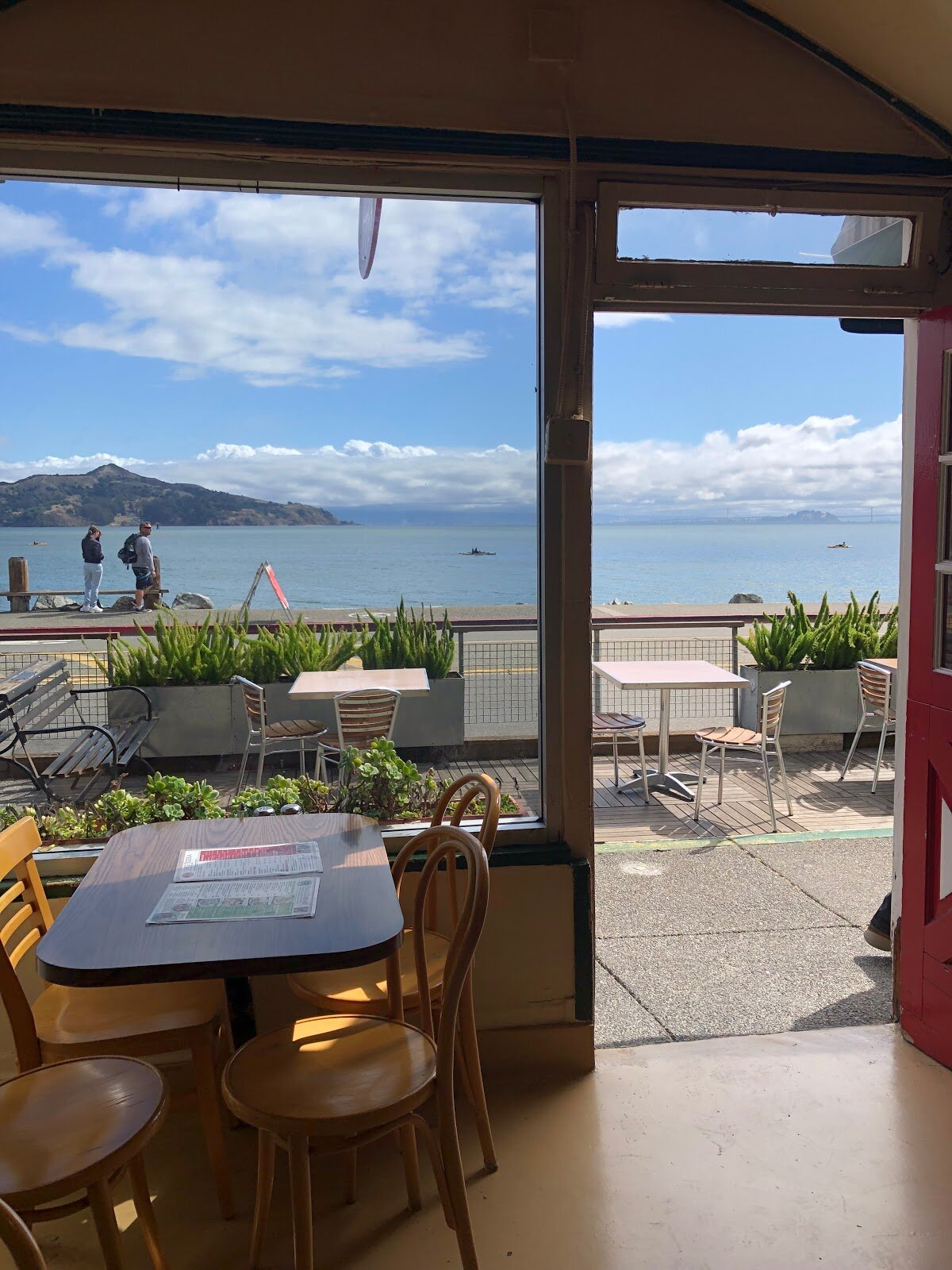 Outside seating in Sausalito with view of the San Francisco Bay