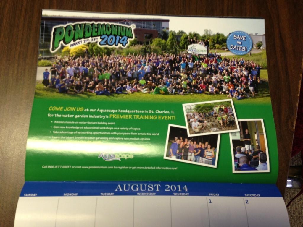 2014 Irrigation & Green Industry Calendar (August, showcasing Pondemonium attendees)